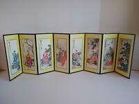 Vintage Oriental Japanese Miniature 8 Print Folding Screen Art Asian Zen Decor