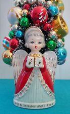 Christmas Bottle Brush Tree; Vintage Angel Planter & Vintage Glass Ornaments