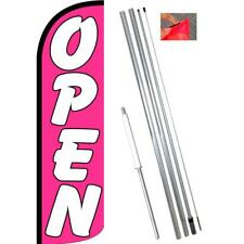 Open (Pink/White) Windless-Style Feather Flag Bundle 14' OR Replacement Flag Onl