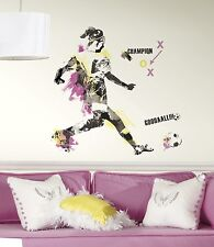 WOMEN'S SOCCER CHAMPION GiaNT WALL DECALS New Girls Sports Stickers Decor