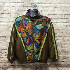 Vintage Retro 90s Silk Jacket Festival Windbreaker - Size XLarge - Fast P&P