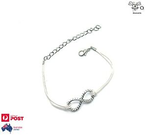 Infinity Charm White String Adjustable Bracelet