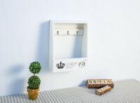 Rustic Wooden Key Hook Basket Wall Shelving Organizer Hangers Shelf Home 2 color