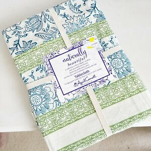 """April Cornell TABLECLOTH 70"""" Round FLORAL Naturally Beautiful cotton NEW"""