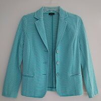 Talbots Petites Womens Jacket Blazer Size P Teal Blue Green White Stripe