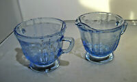 Indiana Glass blue Sugar and Creamer Madrid the pattern