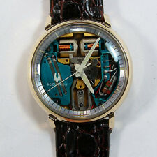 NICE 1971 VINTAGE 10KT YGF BULOVA BACKSET 214 ACCUTRON SPACEVIEW..RUNS GREAT