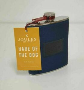 JOULES MEN'S HIP FLASK Hare Of The Dog Stainless Steel Blue Men's Flask Gift