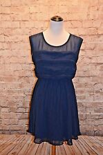 Modcloth Vogue Wave Dress Navy NWT L Navy Chiffon scalloped pintucked tiered