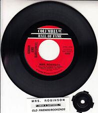 "SIMON AND GARFUNKEL Mrs. Robinson 7"" 45 rpm vinyl record + juke box title strip"