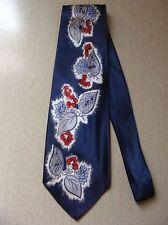 """Floral Interlude"" Beautiful Vintage Neck Tie Navy Blue Silk w Leaves, Flowers"