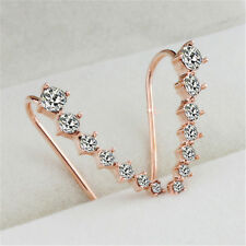 Korean Womens Ear Hook Silver Gold Plated Crystal Rhinestone Earrings Jewelry