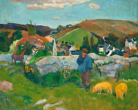 Swineherd Paul Gauguin Wall Art Print on Canvas Giclee Painting Reproduction SM