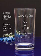 Personalised Engraved GIN AND TONIC Hi ball mixer spirit glassBirthday X-mas 63