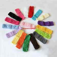 WHOLESALE 100PCS GIRLS BABY TODDLE SOFT CROCHET HEADBANDS 1.5 INCH 26 Color