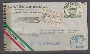 MEXICO, 1944 Registered Censored Airmail cover., Acapulco to USA, 30c., & 50c.