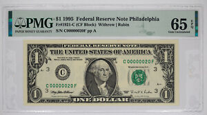 1995 $1 FEDERAL RESERVE NOTE PHILADELPHIA FR#1921-C PMG 65 EPQ LOW SERIAL 20
