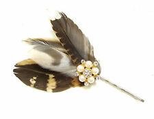 Brown Pheasant Feather Silver Hair Clip Silver Fascinator Headpiece Races A61