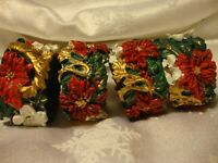 Set (4) True Vintage Christmas Large Resin Poinsettia Napkin Rings Holders    12