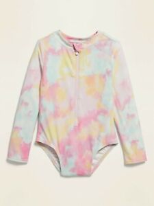 Old Navy Tie Dye Long Sleeve Rash Guard One Piece Swim Suit NWT Various Sizes