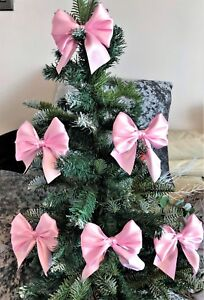 Pink Christmas Tree Bows with ties,  Gifts, packaging 1, 3 or 6 bows per pack