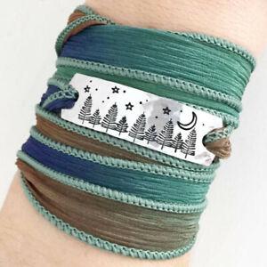 Clair Ashley EVERGREENS AT NIGHT Silk Wrap BRACELET WC3 Blue Green Ribbon + Box