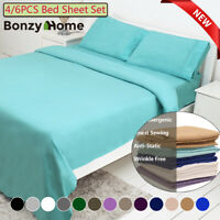 4/6Piece bed sheet set Deep Pocket Sheets Queen King Full Size bed fitted sheet