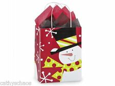20 Jolly Holiday Snowman Winter Christmas Kraft Paper Cub Shopping Gift Bags