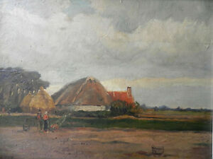 Landschaft mit Hof, Bauer mit Frau, Lagerfeuer, Bauernhof, signiert, Düsseldorf