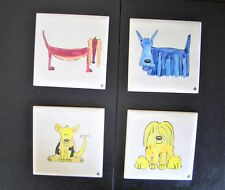 """4 Small Hand Painted Ceramic Tiles / Drinks Coasters - Dog Design - 4"""" x4"""""""