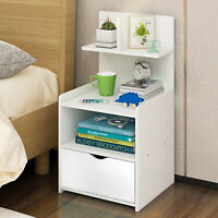 White Wooden Nightstand End Table Bedroom Furniture Bedside Shelf with Drawer