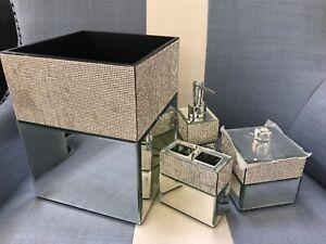 Bella Lux Crystal Mirror Bathroom Accessories Set 4 ~New~