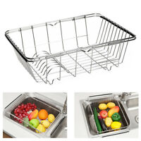 Kitchen Drying Dish Drainer Rack In Sink Basket Holder Organizer Stainless Steel