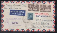 Canada 1951 Registered Airmail FIRST FLIGHT Cover MONTREAL to PARIS FRANCE