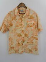 Columbia Men's Short Sleeve Peach Hawaiian Print Button Down Shirt Size L