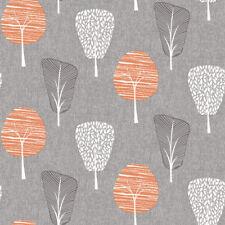 Retro Tree Grey Orange Wallpaper