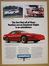 1987 Pontiac Trans Am GTA red car photo Goodyear Eagle Tires vintage print Ad