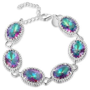 925 Silver Fashion Women MYSTICAL Rainbow Oval Topaz Gemstone Pageant Bracelet