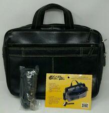 """Bugatti Computer Shoulder Bag Briefcase Black Leather 16"""" Business Laptop EUC"""
