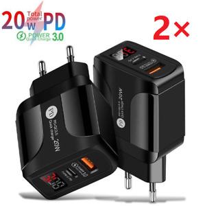 2X PD 20W QC3.0 USB-C Ladegerät Für iPhone 12 11 X iPad AirPod Samsung Netzteil