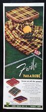 1954 Faibo Pak-A-Robe blanket football games tartan plaid 50's vintage print ad