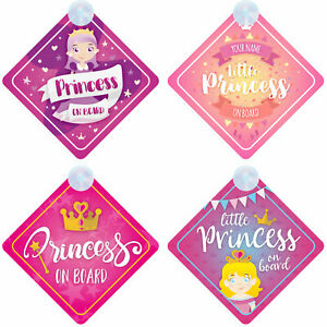 Princess on Board Personalised Girl Baby/Child Car Sign - Loads of designs!