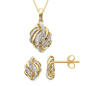 14K Gold Over Sterling 1/10 CT Diamond Love Knot Pendant Necklace & Earrings Set