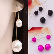 Elegant Women Pearl Ear Stud Long Dangle Earrings Silver Plated Jewelry