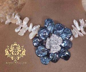 Biwa Pearl Off White Keshi Rhinestone Flower Pendant Statement Necklace Bridal