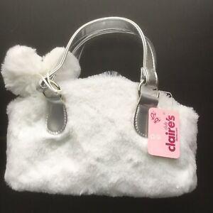 NWT Claires Club Purse Furry Silver & White Children's Pocketbook Plush Bag Poms