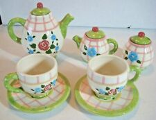 Mary Engelbreit 1998 Enesco Child's Tea Set-Ceramic Pink/Green - 10 pieces