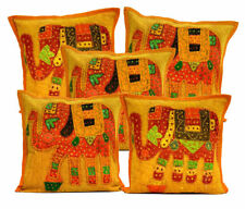 Dark Yellow Applique Vintage Elephant Patchwork Home Decor Cushion Covers 5Pcs