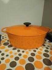 GRANDE COCOTTE EN FONTE ovale ÉMAILLÉE orange cousance le creuset. 31cm.