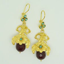 Ottoman semi precious gem stone gold plated earrings leaf flower agate handmade3